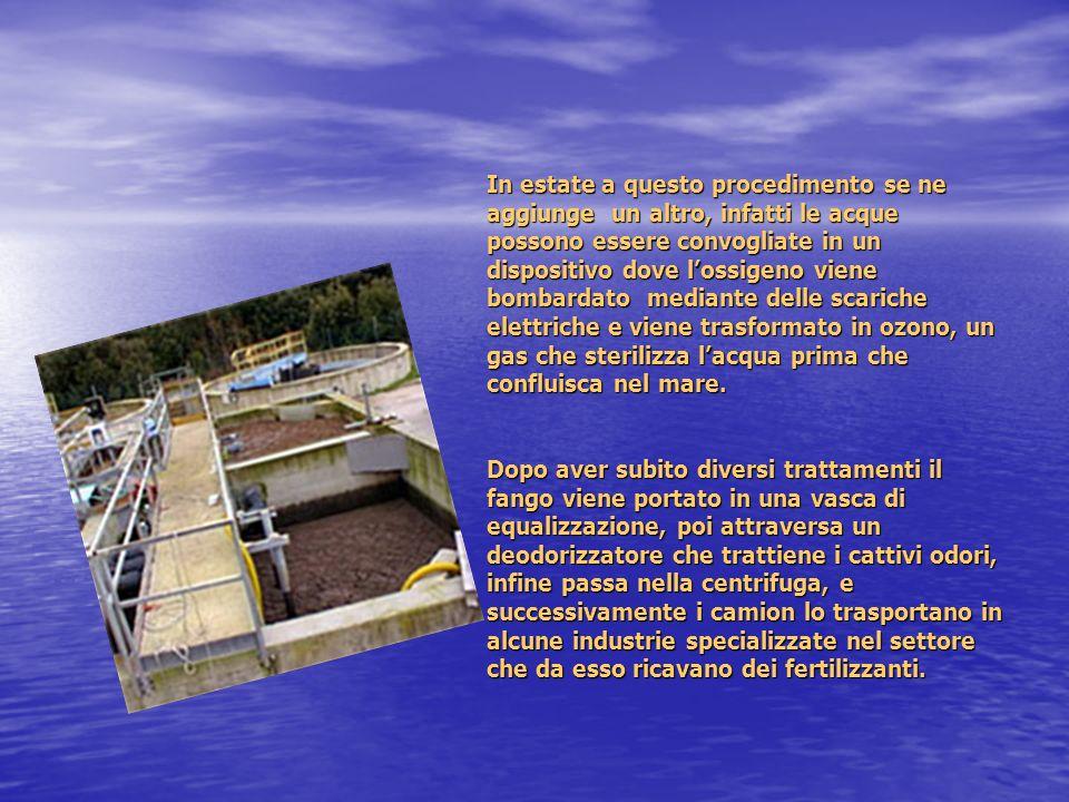 In estate a questo procedimento se ne aggiunge un altro, infatti le acque possono essere convogliate in un dispositivo dove lossigeno viene bombardato mediante delle scariche elettriche e viene trasformato in ozono, un gas che sterilizza lacqua prima che confluisca nel mare.