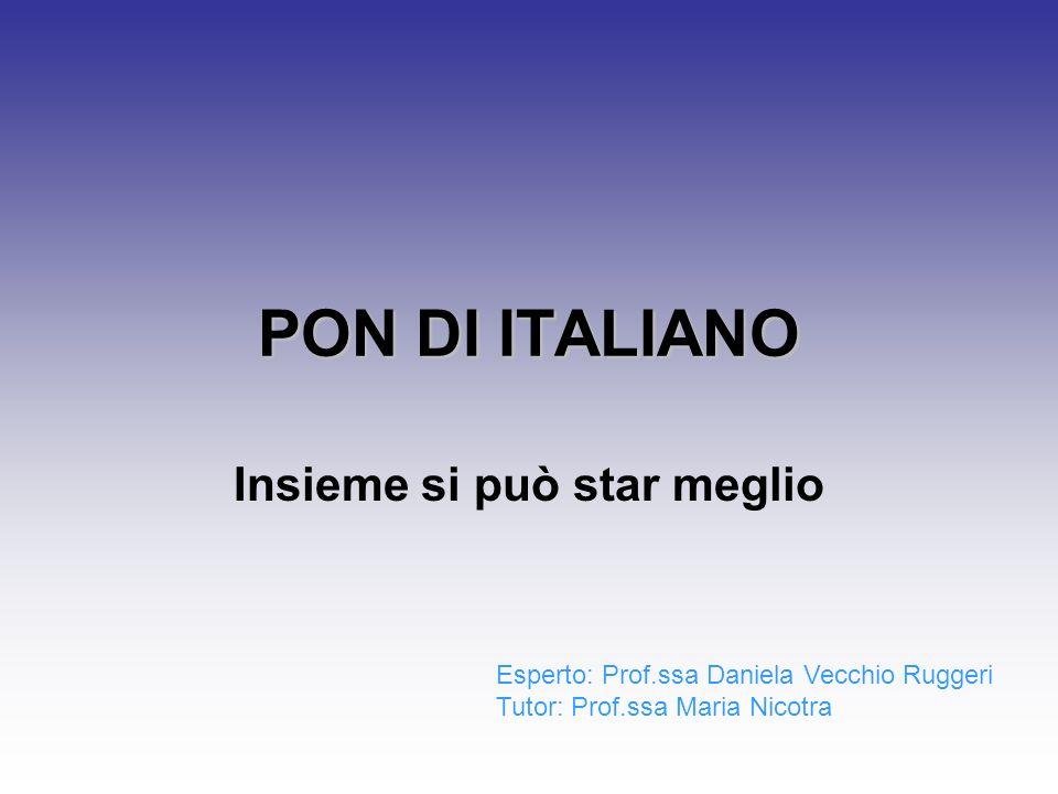 PON DI ITALIANO Insieme si può star meglio Esperto: Prof.ssa Daniela Vecchio Ruggeri Tutor: Prof.ssa Maria Nicotra