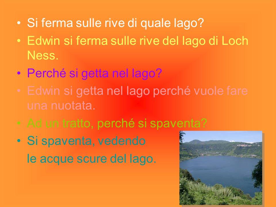 Si ferma sulle rive di quale lago? Edwin si ferma sulle rive del lago di Loch Ness. Perché si getta nel lago? Edwin si getta nel lago perché vuole far