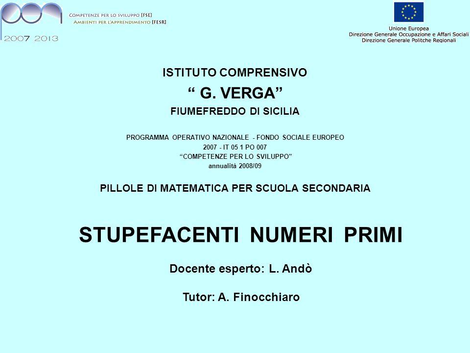 ISTITUTO COMPRENSIVO G. VERGA FIUMEFREDDO DI SICILIA PROGRAMMA OPERATIVO NAZIONALE - FONDO SOCIALE EUROPEO 2007 - IT 05 1 PO 007 COMPETENZE PER LO SVI