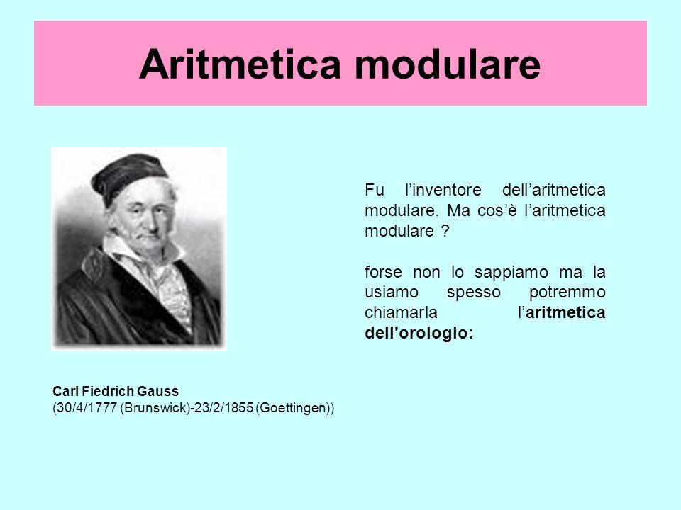 Aritmetica modulare Carl Fiedrich Gauss (30/4/1777 (Brunswick)-23/2/1855 (Goettingen)) Fu linventore dellaritmetica modulare. Ma cosè laritmetica modu