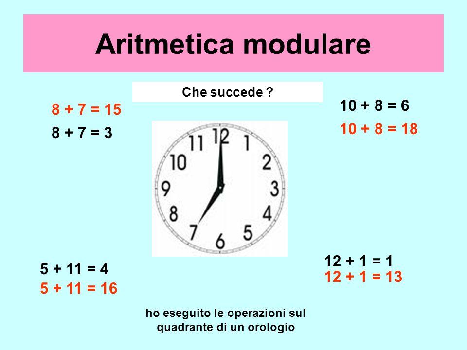 8 + 7 = 3 10 + 8 = 6 5 + 11 = 4 12 + 1 = 1 8 + 7 = 15 10 + 8 = 18 5 + 11 = 16 12 + 1 = 13 Aritmetica modulare Eseguiamo qualche operazione Che succede