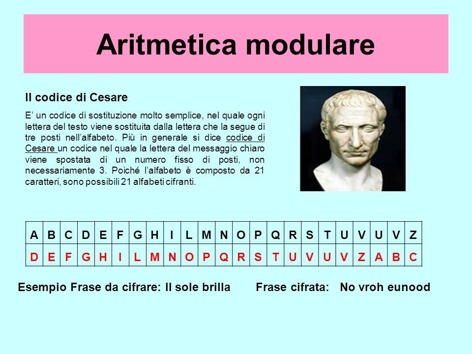 Il codice di Cesare E un codice di sostituzione molto semplice, nel quale ogni lettera del testo viene sostituita dalla lettera che la segue di tre po