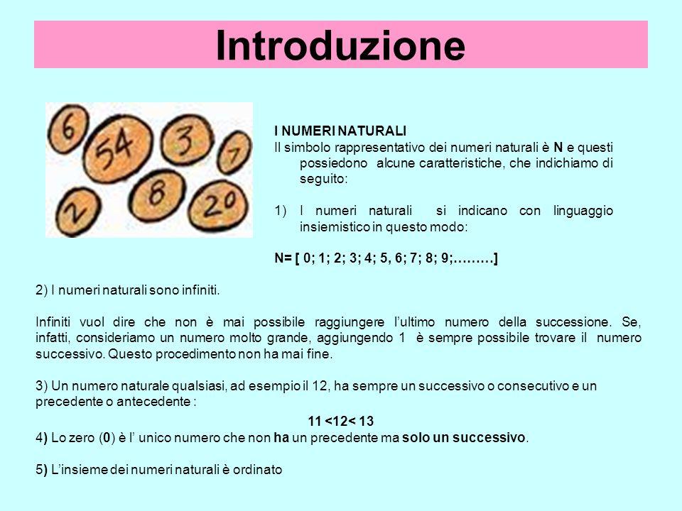 Introduzione I NUMERI NATURALI Il simbolo rappresentativo dei numeri naturali è N e questi possiedono alcune caratteristiche, che indichiamo di seguit