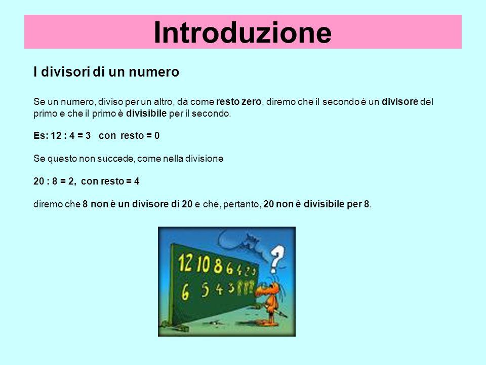 Introduzione I divisori di un numero Se un numero, diviso per un altro, dà come resto zero, diremo che il secondo è un divisore del primo e che il pri
