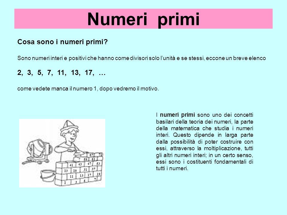 Numeri primi Cosa sono i numeri primi? Sono numeri interi e positivi che hanno come divisori solo lunità e se stessi, eccone un breve elenco 2, 3, 5,