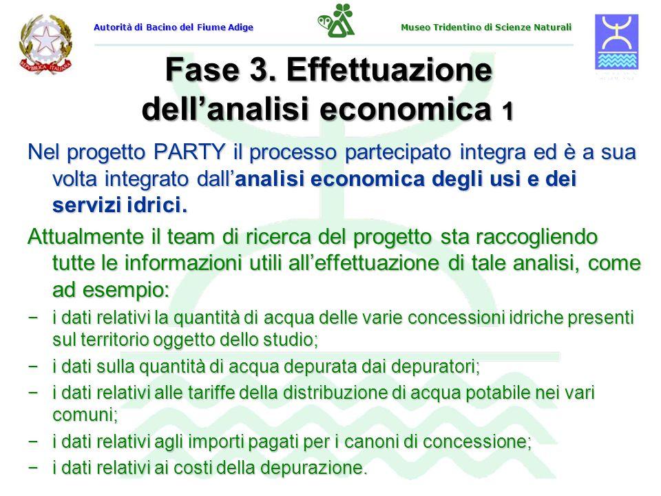 Fase 3. Effettuazione dellanalisi economica 1 Nel progetto PARTY il processo partecipato integra ed è a sua volta integrato dallanalisi economica degl