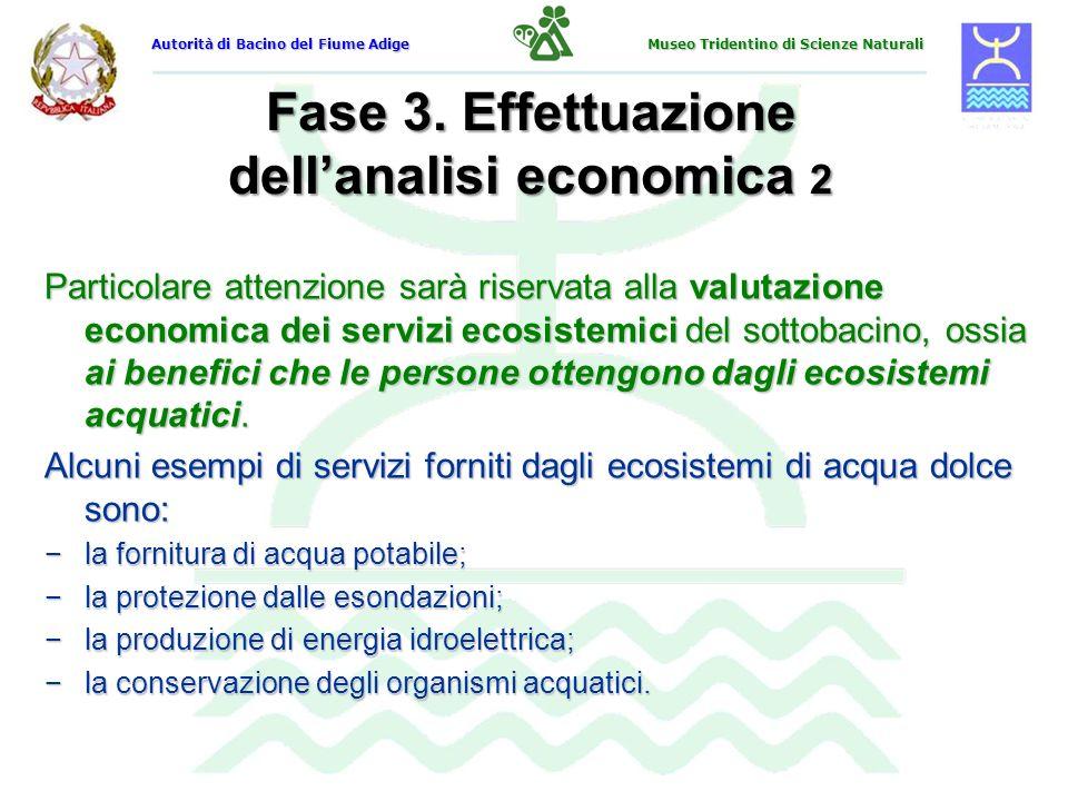 Fase 3. Effettuazione dellanalisi economica 2 Particolare attenzione sarà riservata alla valutazione economica dei servizi ecosistemici del sottobacin