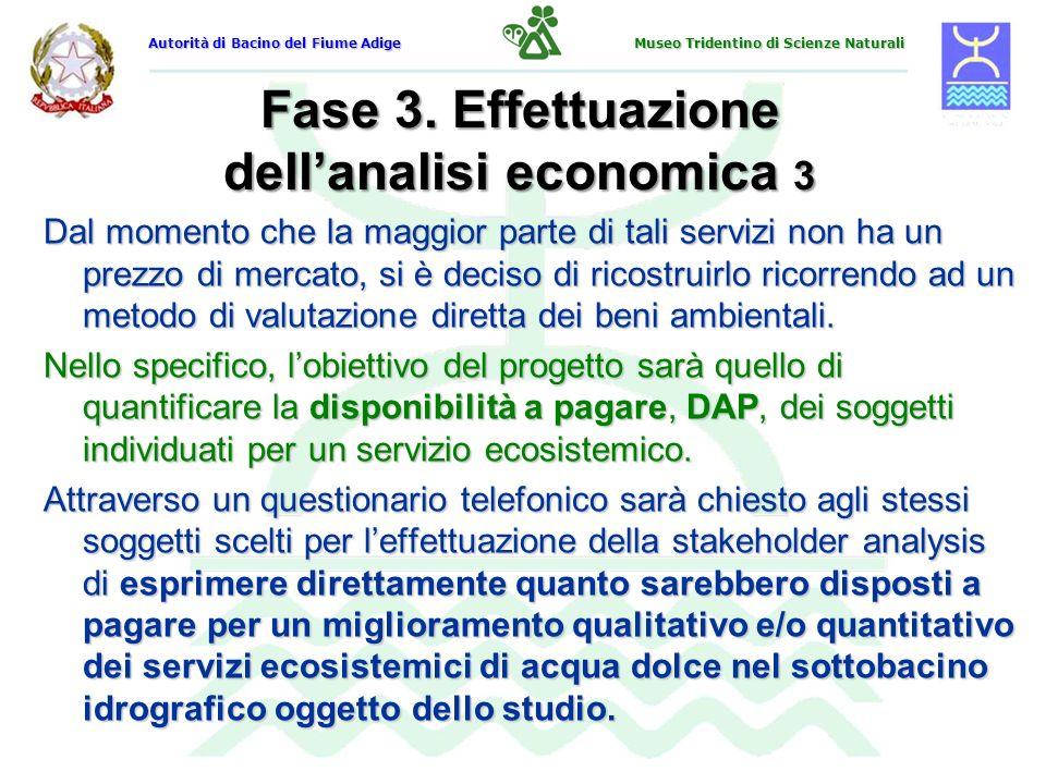 Fase 3. Effettuazione dellanalisi economica 3 Dal momento che la maggior parte di tali servizi non ha un prezzo di mercato, si è deciso di ricostruirl