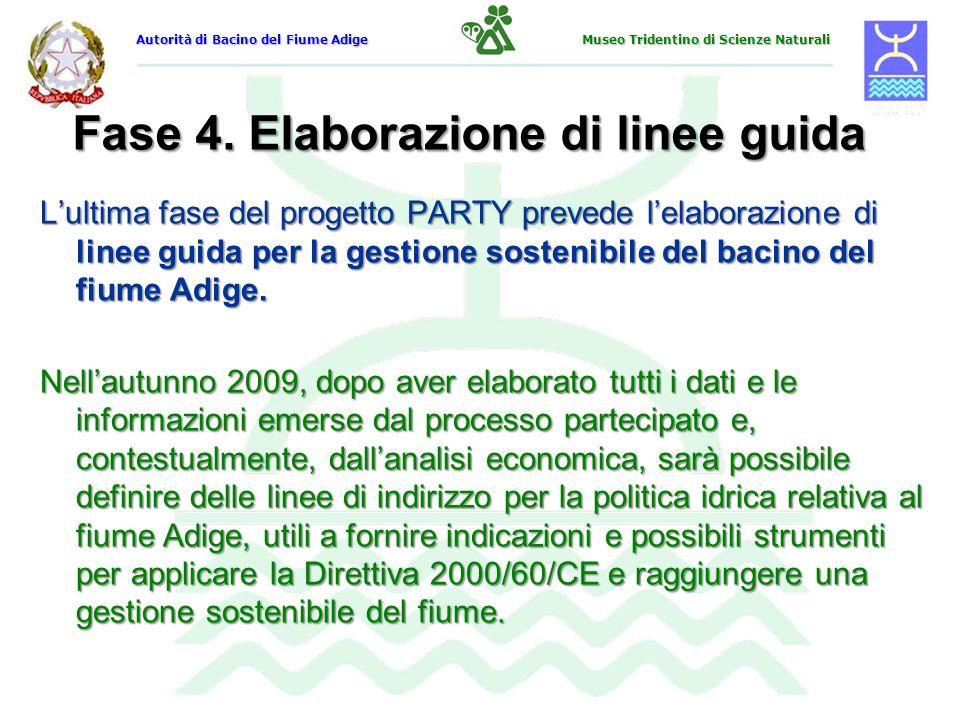 Fase 4. Elaborazione di linee guida Lultima fase del progetto PARTY prevede lelaborazione di linee guida per la gestione sostenibile del bacino del fi
