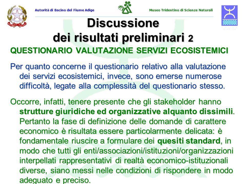 Discussione dei risultati preliminari 2 QUESTIONARIO VALUTAZIONE SERVIZI ECOSISTEMICI Per quanto concerne il questionario relativo alla valutazione de