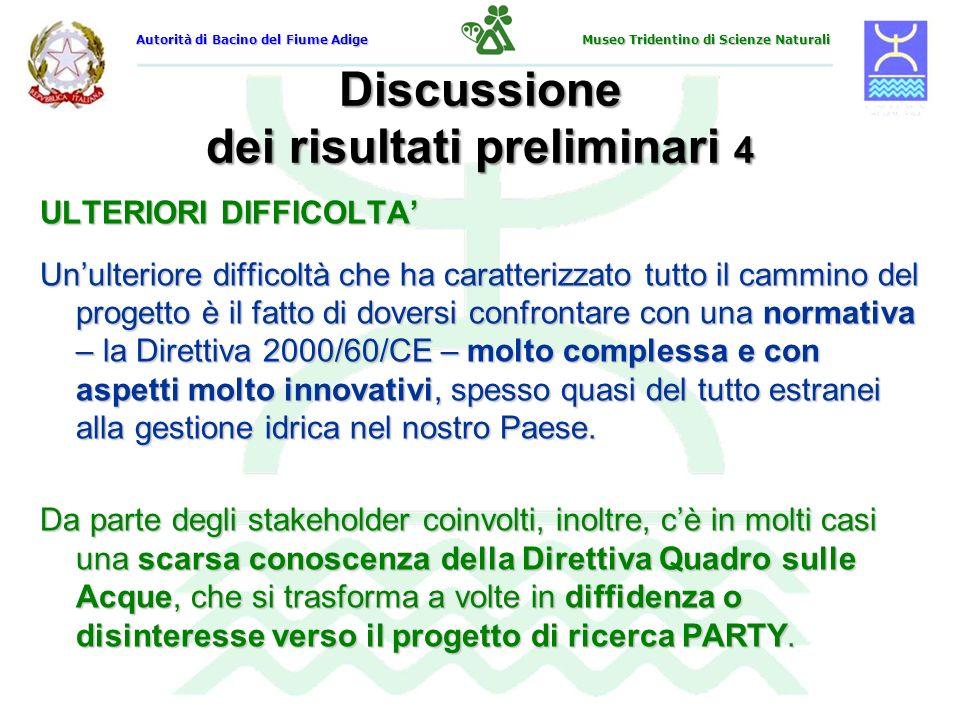 Discussione dei risultati preliminari 4 ULTERIORI DIFFICOLTA Unulteriore difficoltà che ha caratterizzato tutto il cammino del progetto è il fatto di