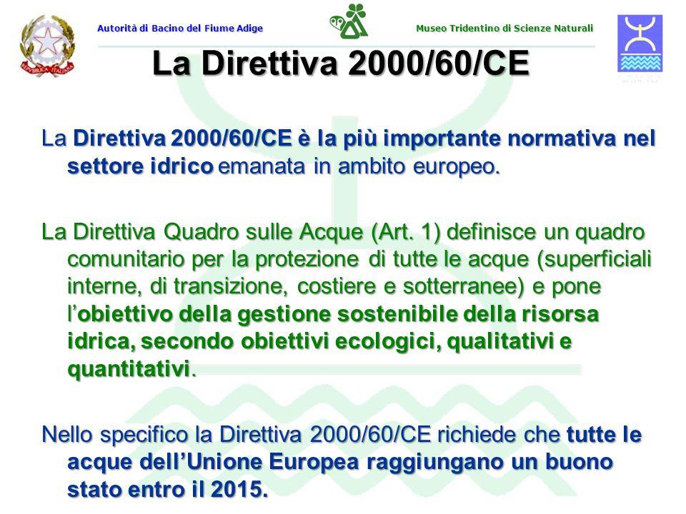 La Direttiva 2000/60/CE La Direttiva 2000/60/CE è la più importante normativa nel settore idrico emanata in ambito europeo. La Direttiva Quadro sulle