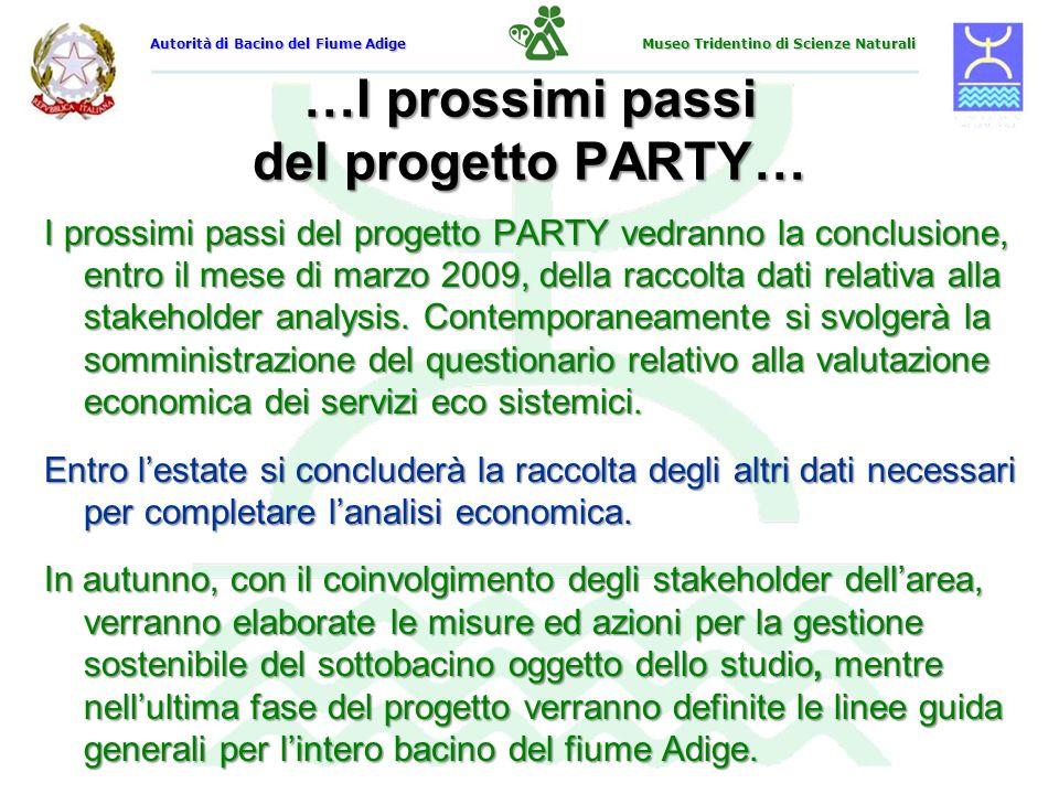 …I prossimi passi del progetto PARTY… I prossimi passi del progetto PARTY vedranno la conclusione, entro il mese di marzo 2009, della raccolta dati re