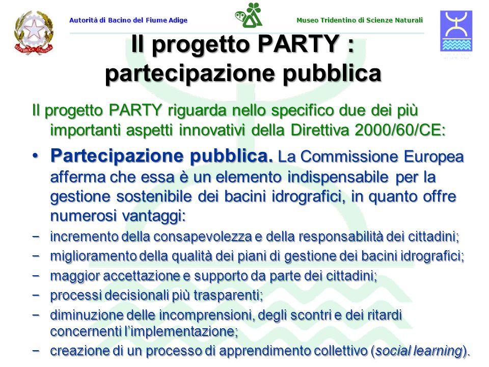 Il progetto PARTY : partecipazione pubblica Il progetto PARTY riguarda nello specifico due dei più importanti aspetti innovativi della Direttiva 2000/