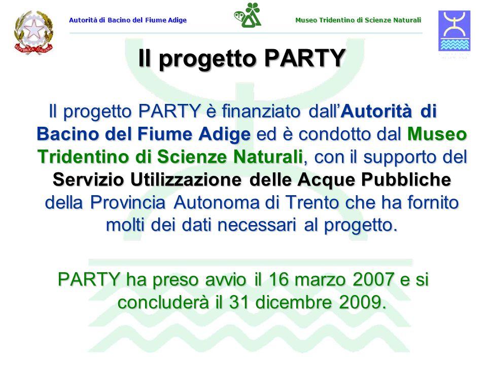 Il progetto PARTY Il progetto PARTY è finanziato dallAutorità di Bacino del Fiume Adige ed è condotto dal Museo Tridentino di Scienze Naturali, con il