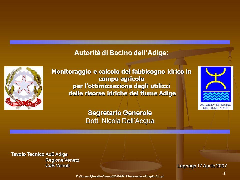 1 K:\Giovanni\Progetto Consorzi\2007-04-17 Presenzazione Progetto 01.ppt Autorità di Bacino dellAdige: Monitoraggio e calcolo del fabbisogno idrico in