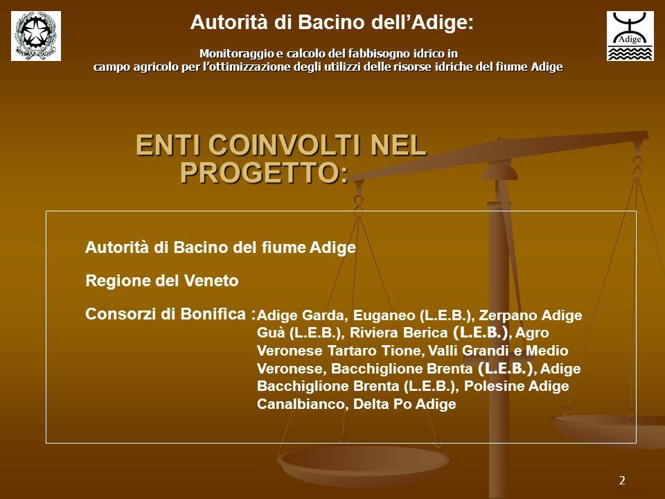 2 Autorità di Bacino del fiume Adige Regione del Veneto Consorzi di Bonifica : Adige Garda, Euganeo (L.E.B.), Zerpano Adige Guà (L.E.B.), Riviera Beri