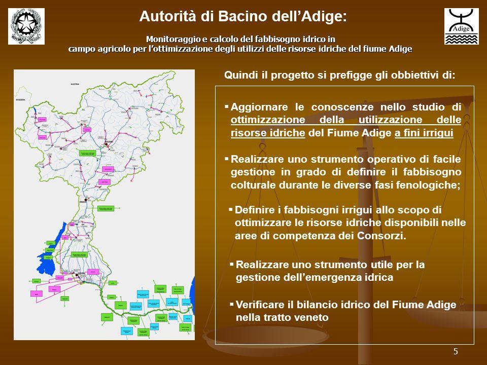 5 Quindi il progetto si prefigge gli obbiettivi di: Definire i fabbisogni irrigui allo scopo di ottimizzare le risorse idriche disponibili nelle aree