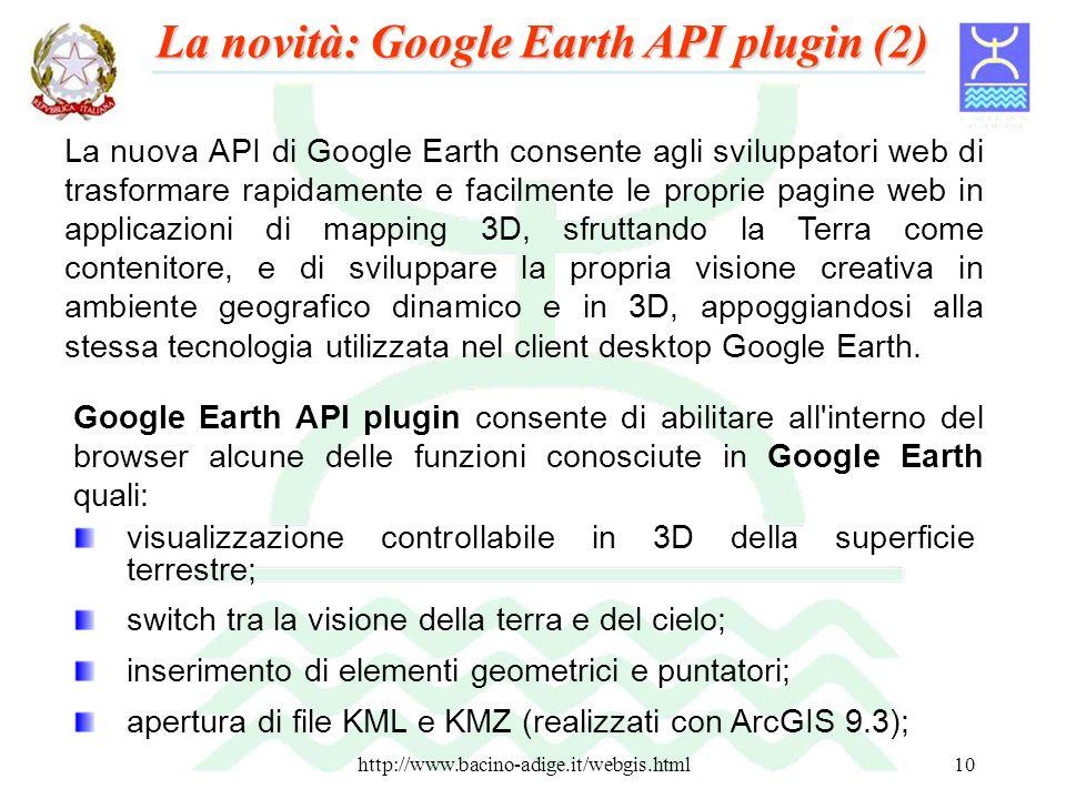http://www.bacino-adige.it/webgis.html10 La nuova API di Google Earth consente agli sviluppatori web di trasformare rapidamente e facilmente le propri