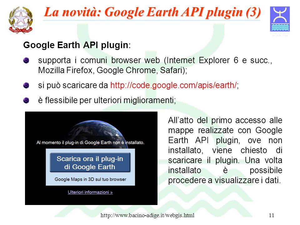 http://www.bacino-adige.it/webgis.html11 Google Earth API plugin: supporta i comuni browser web (Internet Explorer 6 e succ., Mozilla Firefox, Google