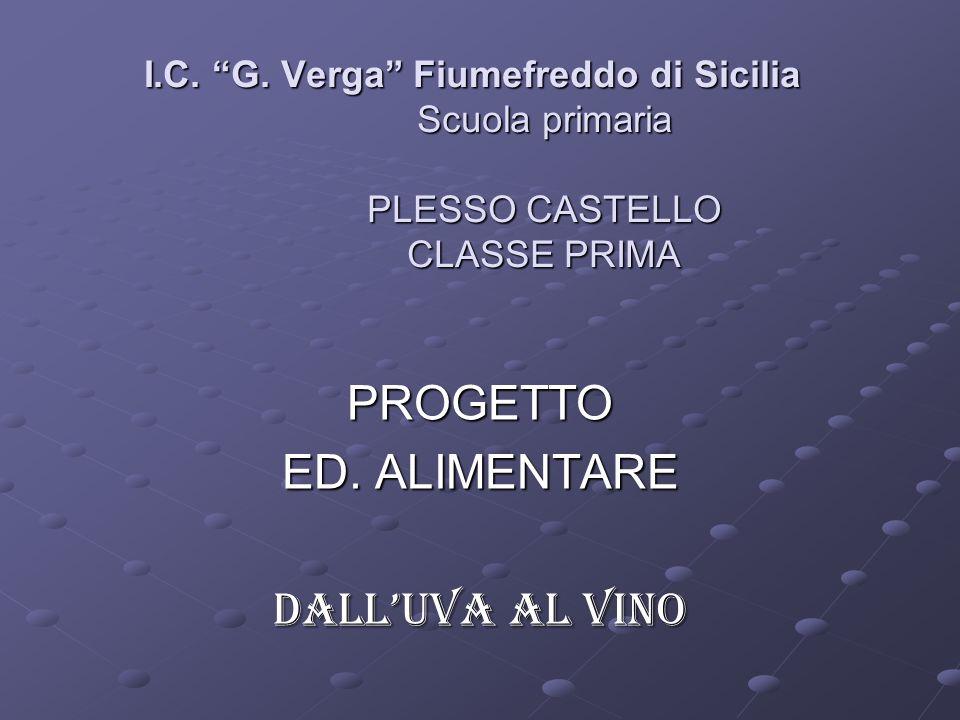 I.C. G. Verga Fiumefreddo di Sicilia Scuola primaria PLESSO CASTELLO CLASSE PRIMA PROGETTO ED. ALIMENTARE DALLUVA AL VINO