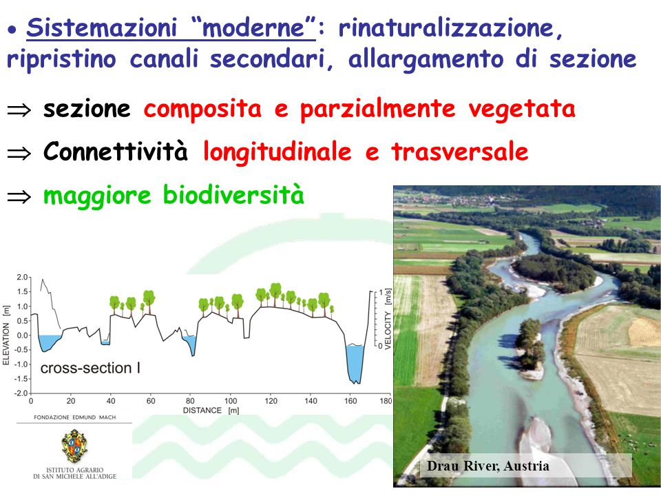 Sistemazioni moderne: rinaturalizzazione, ripristino canali secondari, allargamento di sezione sezione composita e parzialmente vegetata Connettività