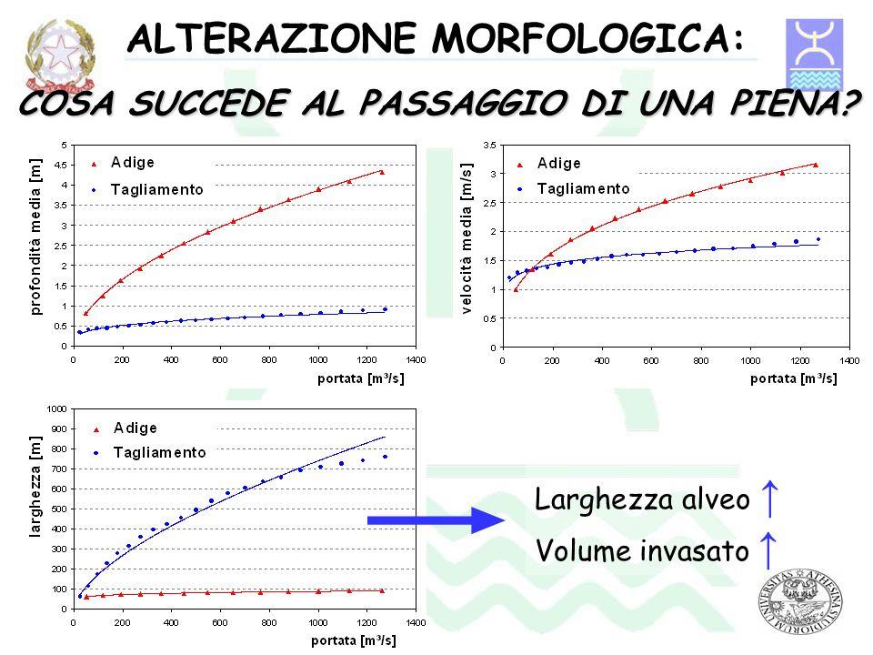 ALTERAZIONE MORFOLOGICA: COSA SUCCEDE AL PASSAGGIO DI UNA PIENA? Larghezza alveo Volume invasato