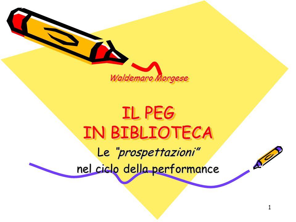 1 Waldemaro Morgese IL PEG IN BIBLIOTECA Le prospettazioni nel ciclo della performance