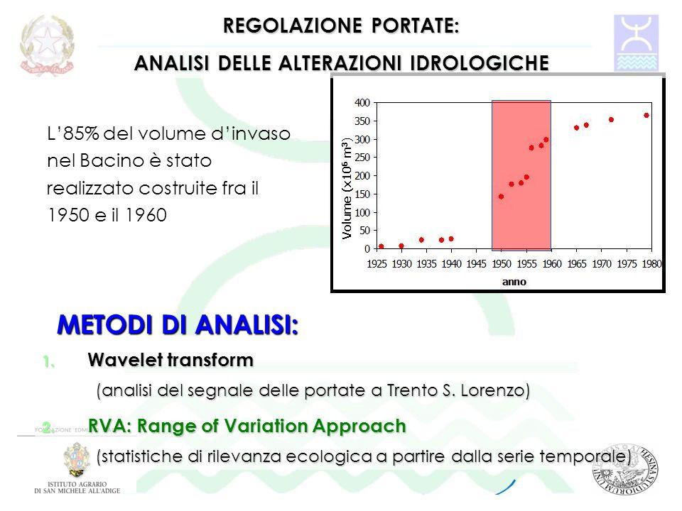 1. Wavelet transform (analisi del segnale delle portate a Trento S. Lorenzo) 2. RVA: Range of Variation Approach (statistiche di rilevanza ecologica a
