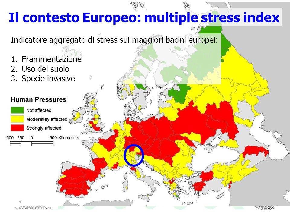 Il contesto Europeo: multiple stress index Indicatore aggregato di stress sui maggiori bacini europei: 1.Frammentazione 2.Uso del suolo 3.Specie invas