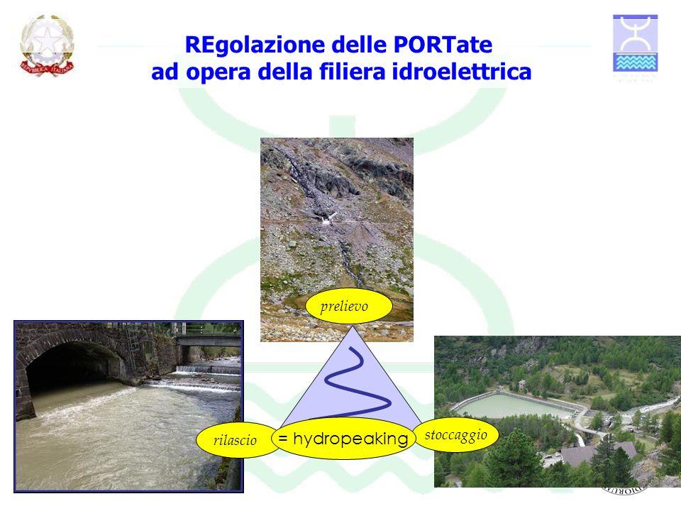 prelievo. stoccaggio rilascio = hydropeaking REgolazione delle PORTate ad opera della filiera idroelettrica