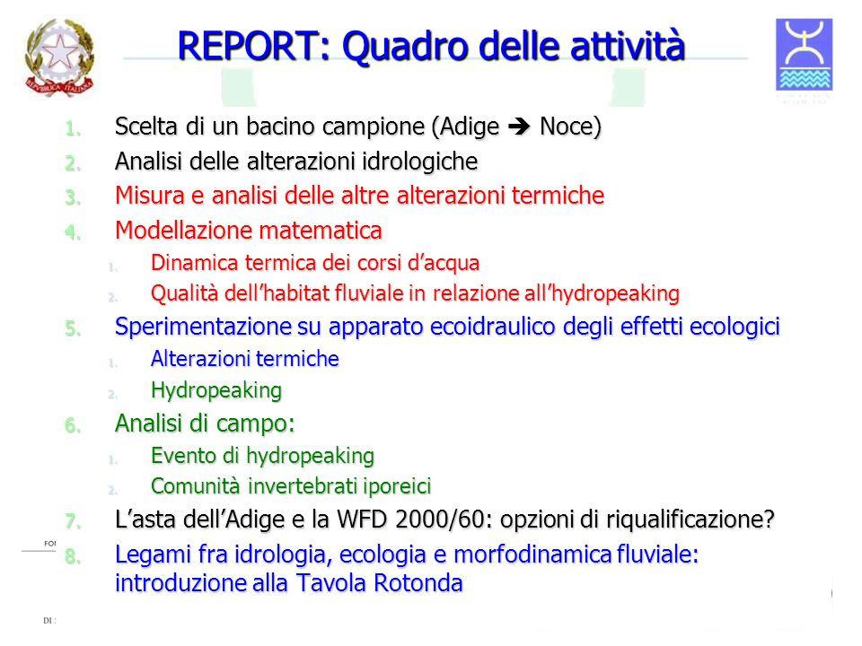 REPORT: Quadro delle attività 1. Scelta di un bacino campione (Adige Noce) 2. Analisi delle alterazioni idrologiche 3. Misura e analisi delle altre al