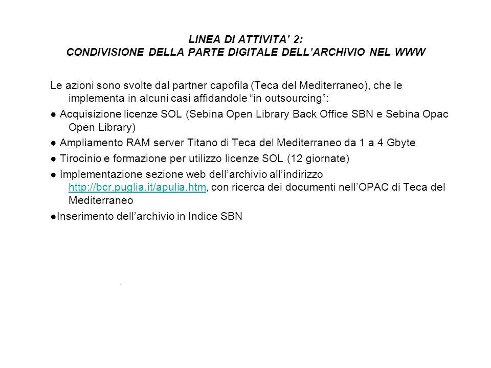 LINEA DI ATTIVITA 2: CONDIVISIONE DELLA PARTE DIGITALE DELLARCHIVIO NEL WWW Le azioni sono svolte dal partner capofila (Teca del Mediterraneo), che le implementa in alcuni casi affidandole in outsourcing: Acquisizione licenze SOL (Sebina Open Library Back Office SBN e Sebina Opac Open Library) Ampliamento RAM server Titano di Teca del Mediterraneo da 1 a 4 Gbyte Tirocinio e formazione per utilizzo licenze SOL (12 giornate) Implementazione sezione web dellarchivio allindirizzo http://bcr.puglia.it/apulia.htm, con ricerca dei documenti nellOPAC di Teca del Mediterraneo http://bcr.puglia.it/apulia.htm Inserimento dellarchivio in Indice SBN