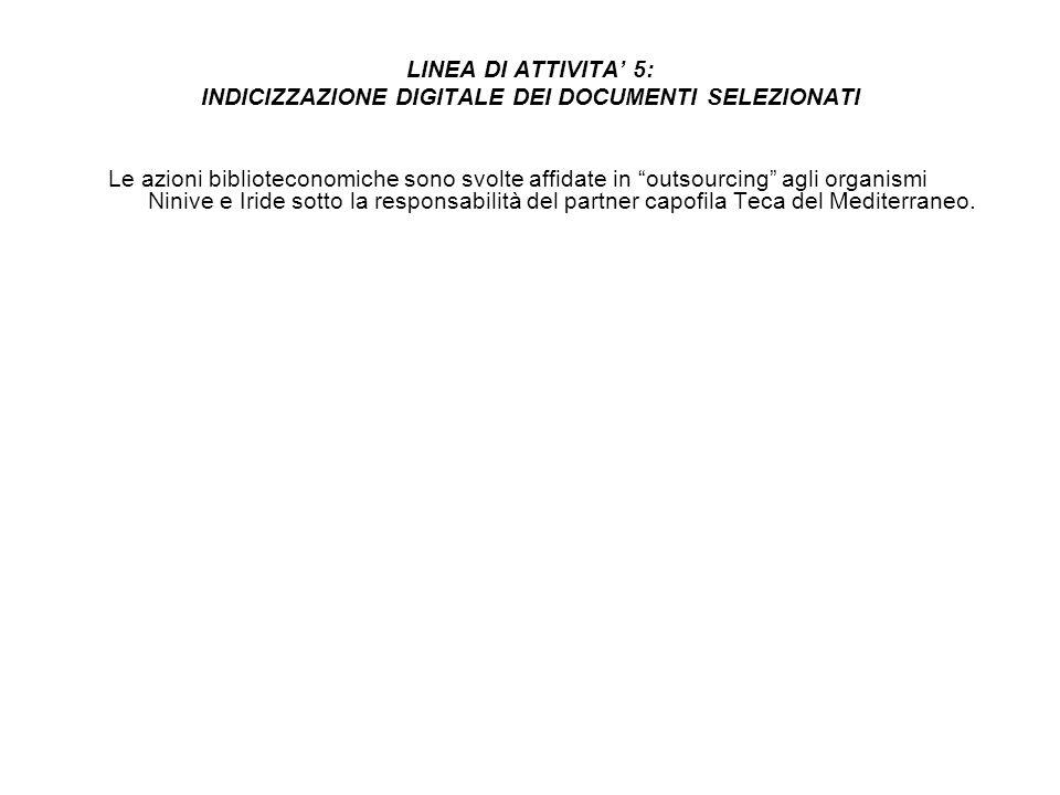 LINEA DI ATTIVITA 5: INDICIZZAZIONE DIGITALE DEI DOCUMENTI SELEZIONATI Le azioni biblioteconomiche sono svolte affidate in outsourcing agli organismi Ninive e Iride sotto la responsabilità del partner capofila Teca del Mediterraneo.