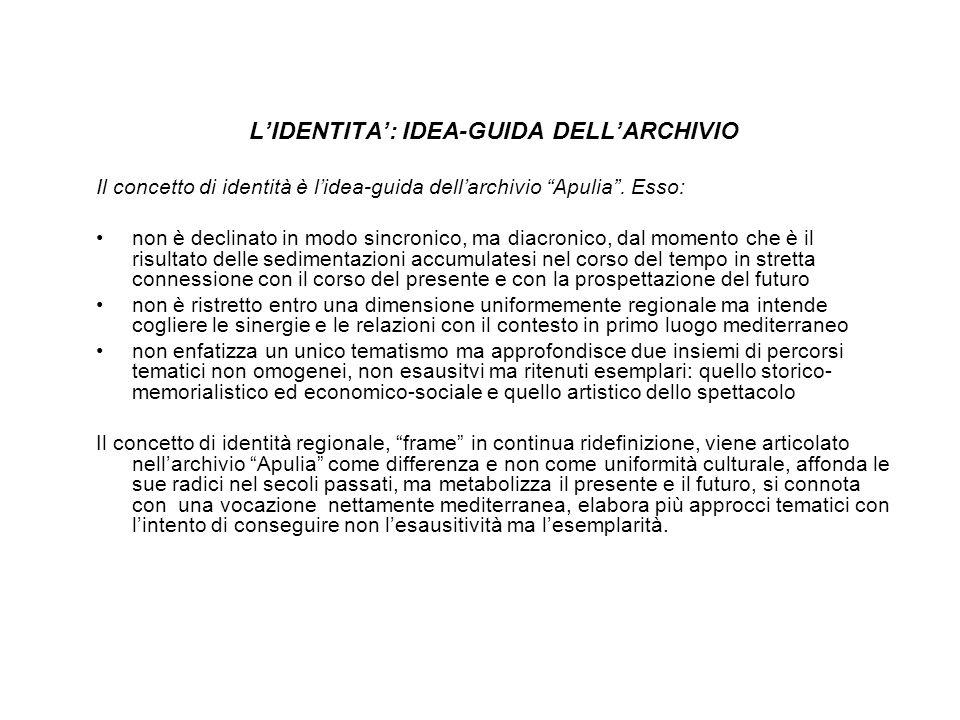 LIDENTITA: IDEA-GUIDA DELLARCHIVIO Il concetto di identità è lidea-guida dellarchivio Apulia.