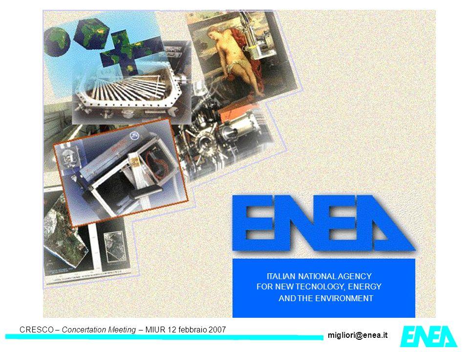 CRESCO – Kick-off meeting LA II – 23 maggio 2006 CRESCO – Concertation Meeting – MIUR 12 febbraio 2007 migliori@enea.it ENEA GRID è un sistema integrato capace di rispondere ai seguenti obbiettivi: mettere a disposizione un sistema di produzione capace di offrire i servizi necessari al calcolo scientifico integrare l insieme di risorse informatiche di ENEA-INFO, distribuite su WAN fornire un ambiente di lavoro unificato e metodi di accesso omogenei per tutti i ricercatori dell ENEA indipendentemente dalla loro sede di lavoro.