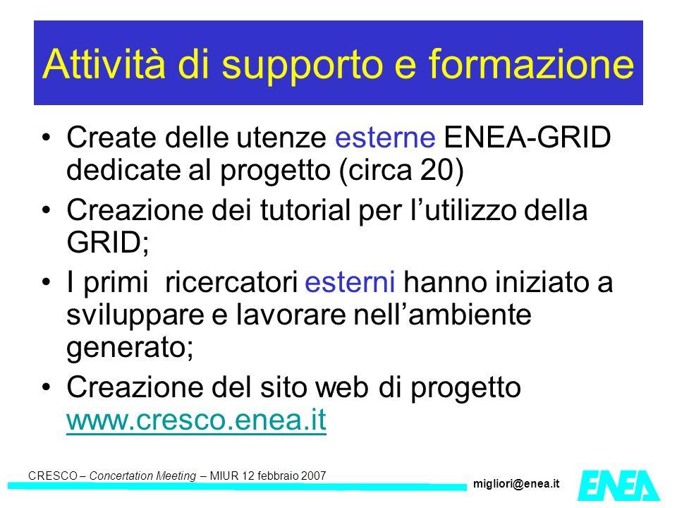 CRESCO – Kick-off meeting LA II – 23 maggio 2006 CRESCO – Concertation Meeting – MIUR 12 febbraio 2007 migliori@enea.it Attività di supporto e formazione Create delle utenze esterne ENEA-GRID dedicate al progetto (circa 20) Creazione dei tutorial per lutilizzo della GRID; I primi ricercatori esterni hanno iniziato a sviluppare e lavorare nellambiente generato; Creazione del sito web di progetto www.cresco.enea.it www.cresco.enea.it