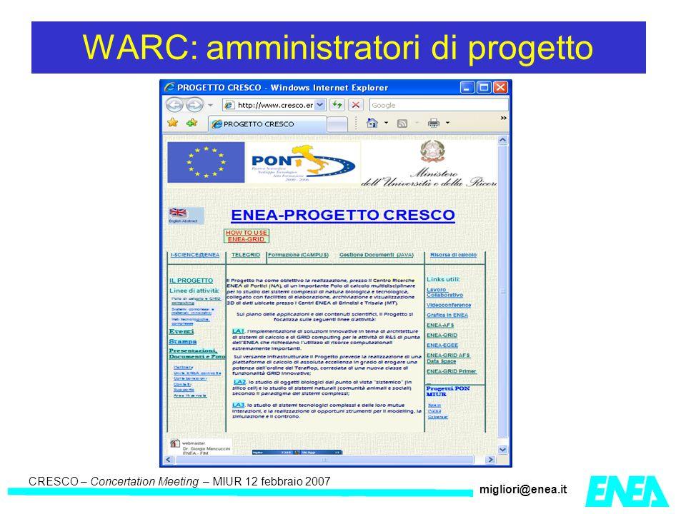 CRESCO – Kick-off meeting LA II – 23 maggio 2006 CRESCO – Concertation Meeting – MIUR 12 febbraio 2007 migliori@enea.it WARC: amministratori di progetto