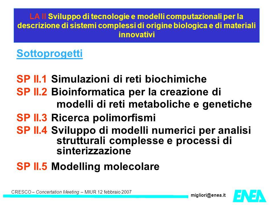 CRESCO – Kick-off meeting LA II – 23 maggio 2006 CRESCO – Concertation Meeting – MIUR 12 febbraio 2007 migliori@enea.it LA II Sviluppo di tecnologie e modelli computazionali per la descrizione di sistemi complessi di origine biologica e di materiali innovativi Sottoprogetti SP II.1 Simulazioni di reti biochimiche SP II.2 Bioinformatica per la creazione di modelli di reti metaboliche e genetiche SP II.3 Ricerca polimorfismi SP II.4 Sviluppo di modelli numerici per analisi strutturali complesse e processi di sinterizzazione SP II.5 Modelling molecolare