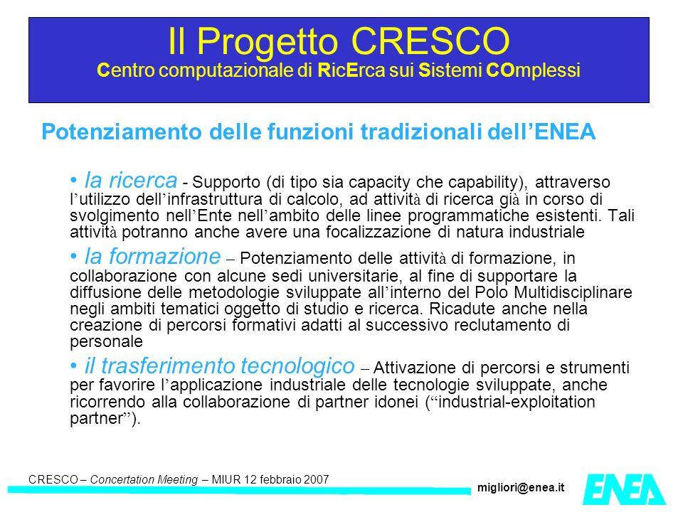 CRESCO – Kick-off meeting LA II – 23 maggio 2006 CRESCO – Concertation Meeting – MIUR 12 febbraio 2007 migliori@enea.it LAIII Sviluppo di modelli di simulazione ed analisi delle reti tecnologiche complesse e delle loro interdipendenze PartnerImportoPartnerImporto Ylichron SRL150.000,00Universita di Lecce20.000,00 CRIAI150.000,00 Universita del Piemonte Orientale 40.000,00 CASPUR25.000,00Universita di Palermo40.000,00 CERI25.000,00Universita di Salerno100.000,00 Universita di Roma La Sapienza 50.000,00 Universita di Roma Tor Vergata (DII) 20.000,00 PSTS100.000,00ECONA20.000,00 CETMA300.000,00 Universita di Roma Tor Vergata (DISP) 60.000,00 Universita di Catania 50.000,00 Universita Campus BioMedico 80.000,00