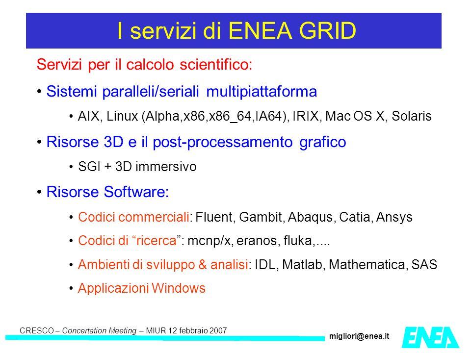 CRESCO – Kick-off meeting LA II – 23 maggio 2006 CRESCO – Concertation Meeting – MIUR 12 febbraio 2007 migliori@enea.it Servizi per il calcolo scientifico: Sistemi paralleli/seriali multipiattaforma AIX, Linux (Alpha,x86,x86_64,IA64), IRIX, Mac OS X, Solaris Risorse 3D e il post-processamento grafico SGI + 3D immersivo Risorse Software: Codici commerciali: Fluent, Gambit, Abaqus, Catia, Ansys Codici di ricerca: mcnp/x, eranos, fluka,....