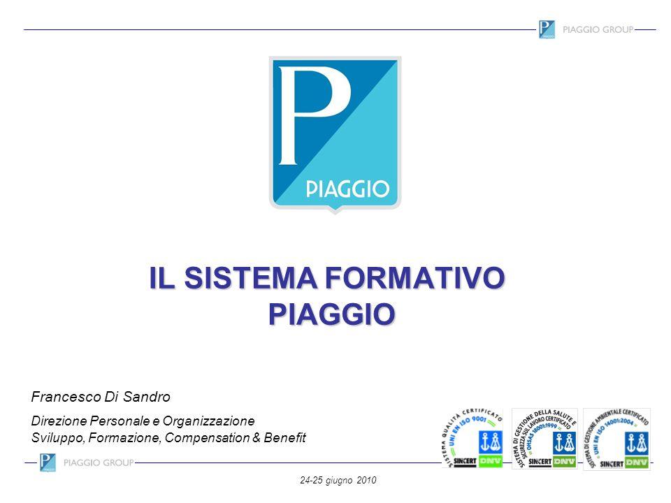 24-25 giugno 2010 IL SISTEMA FORMATIVO PIAGGIO Francesco Di Sandro Direzione Personale e Organizzazione Sviluppo, Formazione, Compensation & Benefit