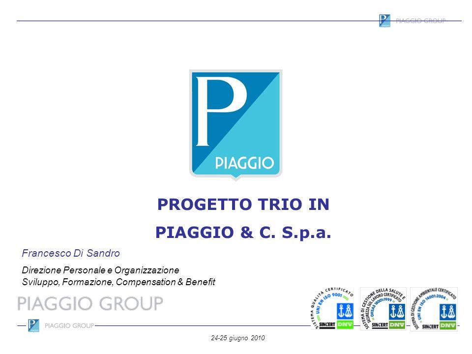 24-25 giugno 2010 PROGETTO TRIO IN PIAGGIO & C. S.p.a. Francesco Di Sandro Direzione Personale e Organizzazione Sviluppo, Formazione, Compensation & B