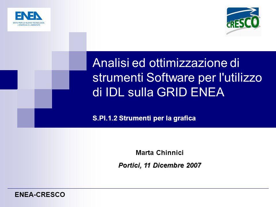 Analisi ed ottimizzazione di strumenti Software per l'utilizzo di IDL sulla GRID ENEA S.PI.1.2 Strumenti per la grafica ENEA-CRESCO Marta Chinnici Por