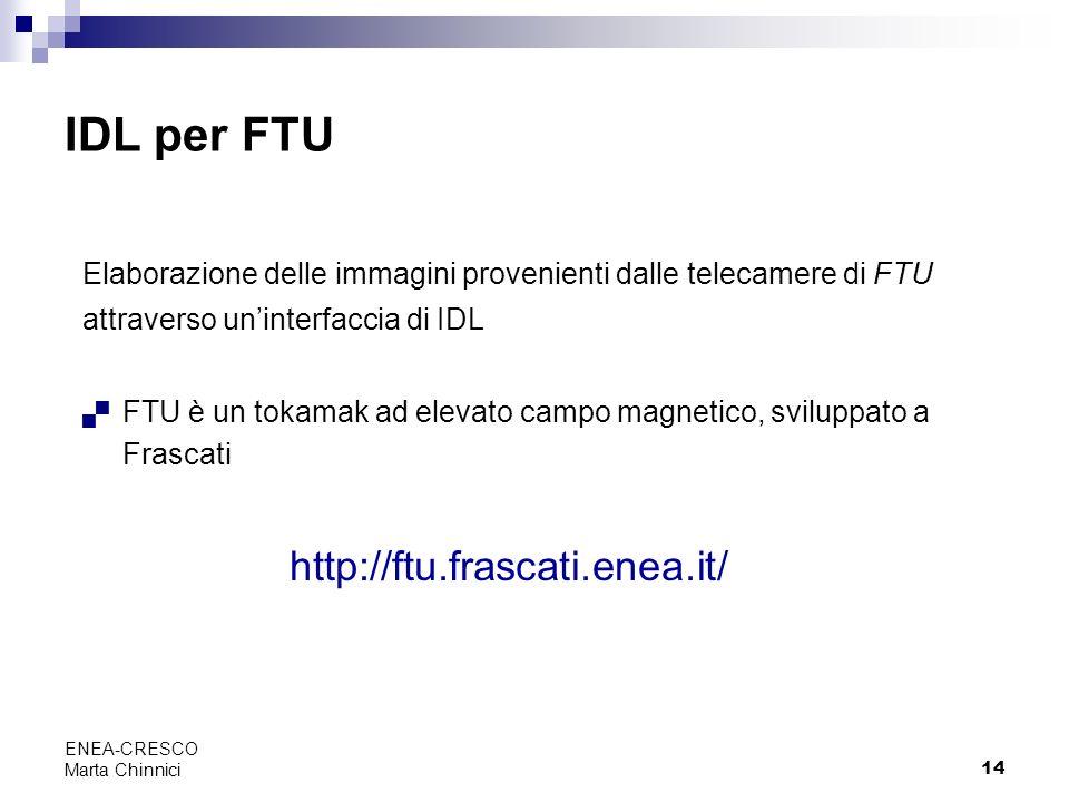 14 ENEA-CRESCO Marta Chinnici IDL per FTU Elaborazione delle immagini provenienti dalle telecamere di FTU attraverso uninterfaccia di IDL FTU è un tok