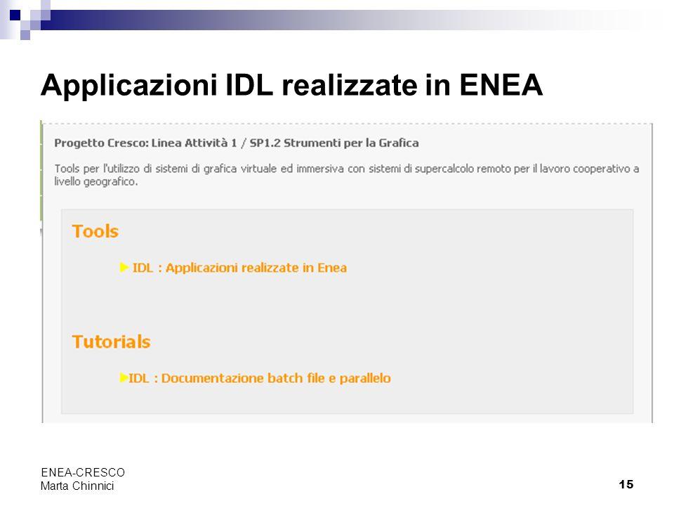 15 ENEA-CRESCO Marta Chinnici Applicazioni IDL realizzate in ENEA