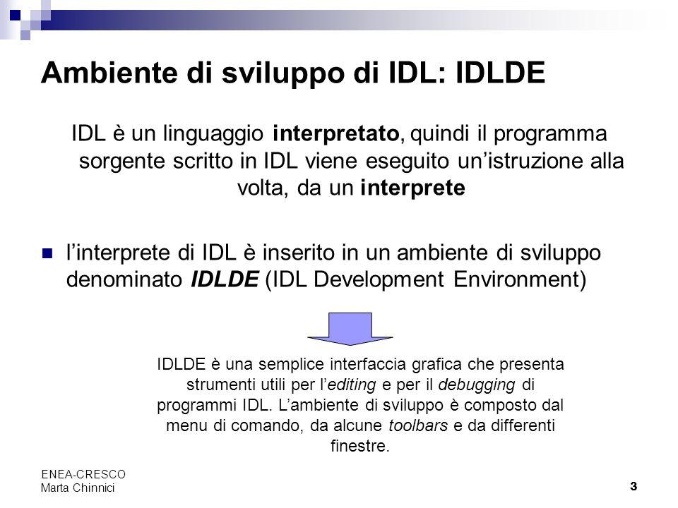 3 ENEA-CRESCO Marta Chinnici Ambiente di sviluppo di IDL: IDLDE IDL è un linguaggio interpretato, quindi il programma sorgente scritto in IDL viene es