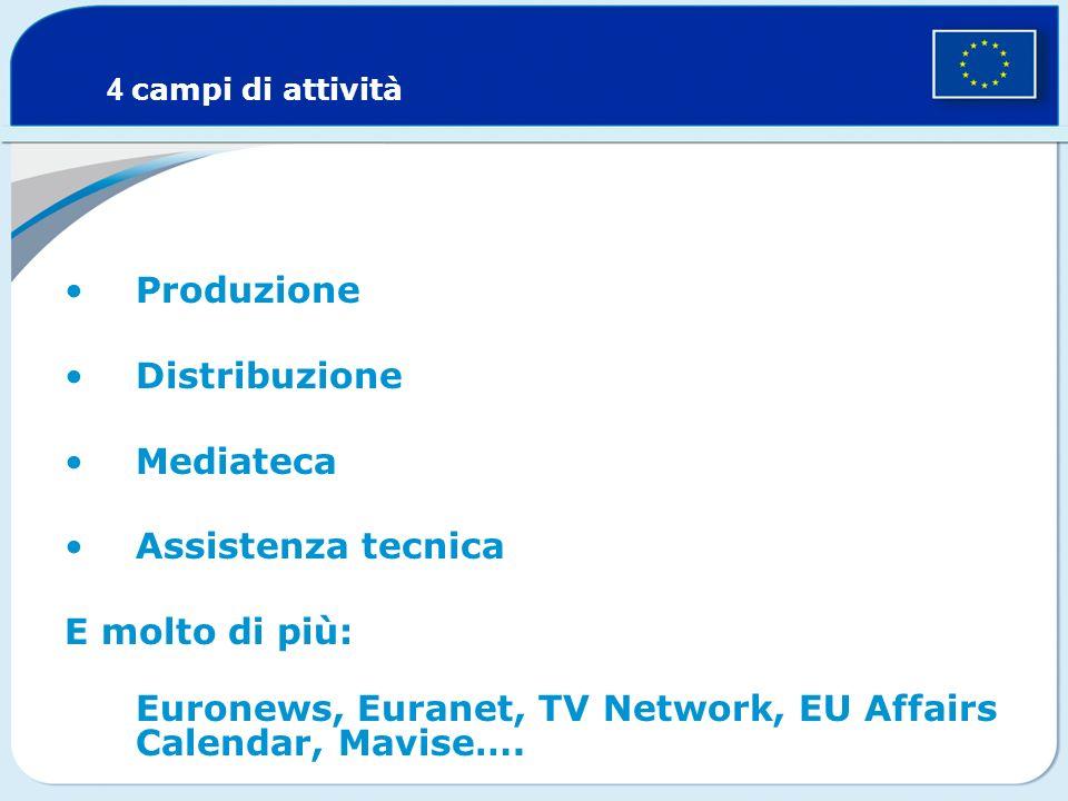 Produzione Distribuzione Mediateca Assistenza tecnica E molto di più: Euronews, Euranet, TV Network, EU Affairs Calendar, Mavise….
