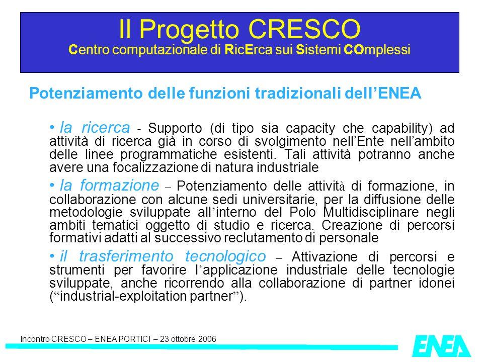 Incontro CRESCO – ENEA PORTICI – 23 ottobre 2006 Potenziamento delle funzioni tradizionali dellENEA la ricerca - Supporto (di tipo sia capacity che ca